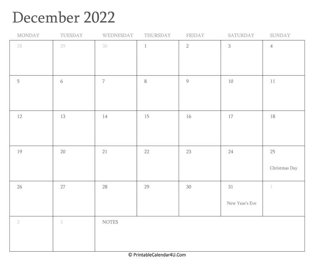 December 2022 Calendar Printable with Holidays