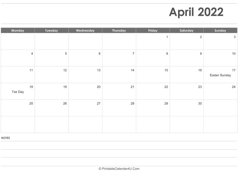 April 2022 Calendar Templates