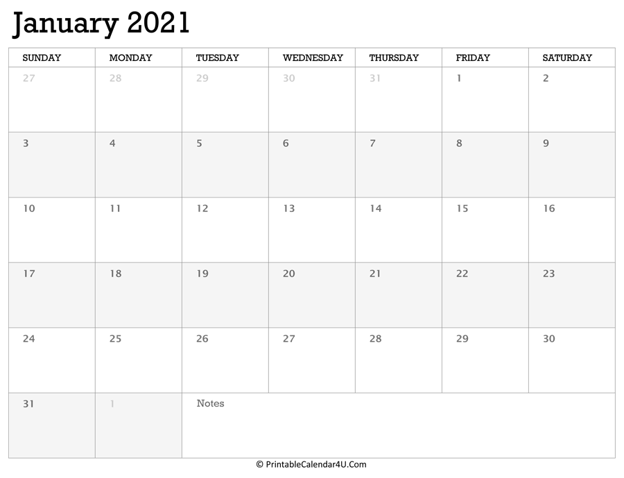 Printable Calendar January 2021 with Holidays
