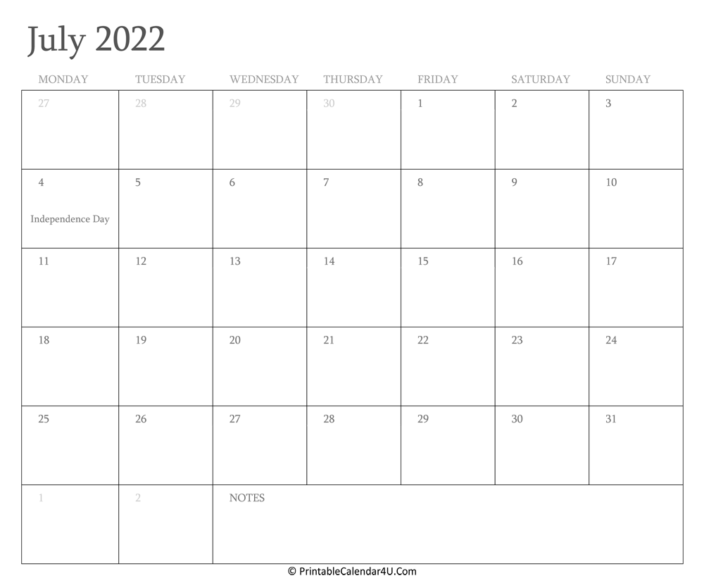 July 2022 Calendar Printable with Holidays