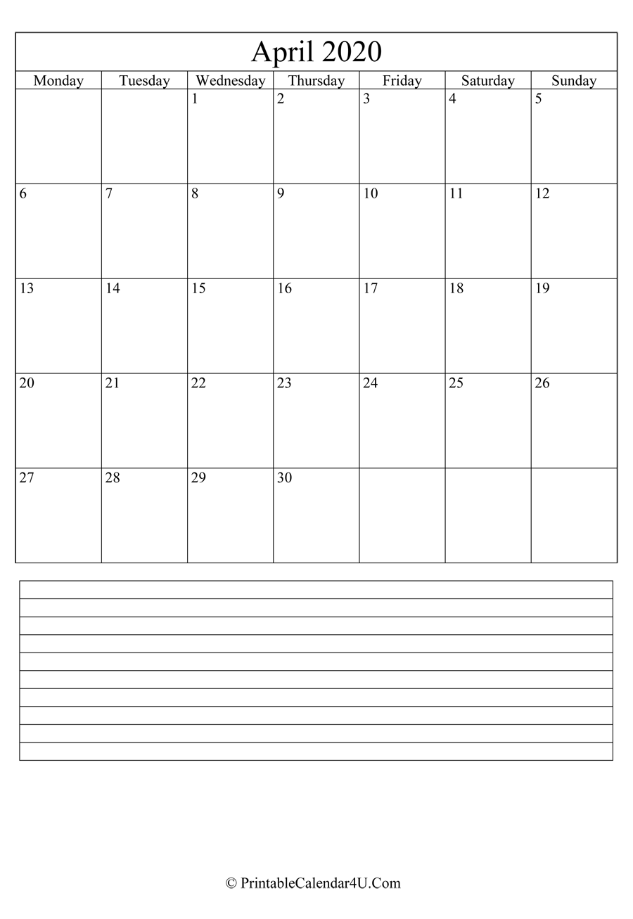 Printable April Calendar 2020 With Notes Portrait