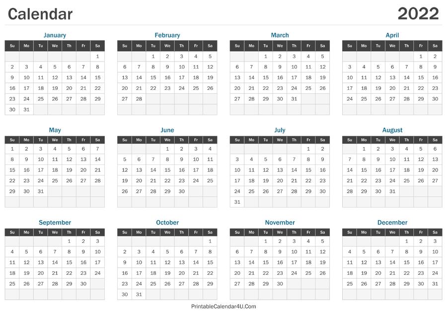 2022 Calendar Printable