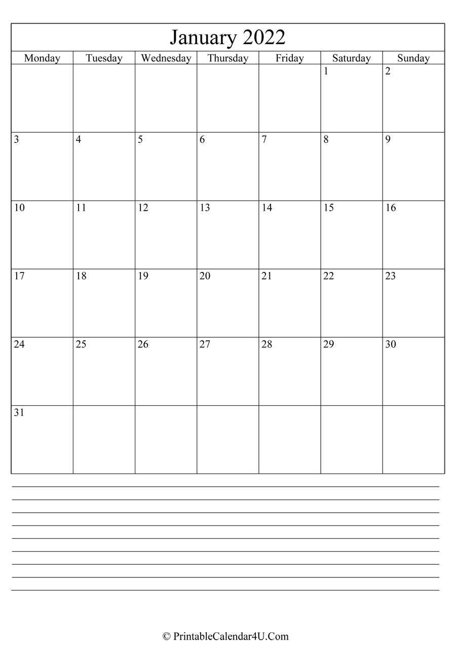 Printable January Calendar 2022 with notes (Portrait)