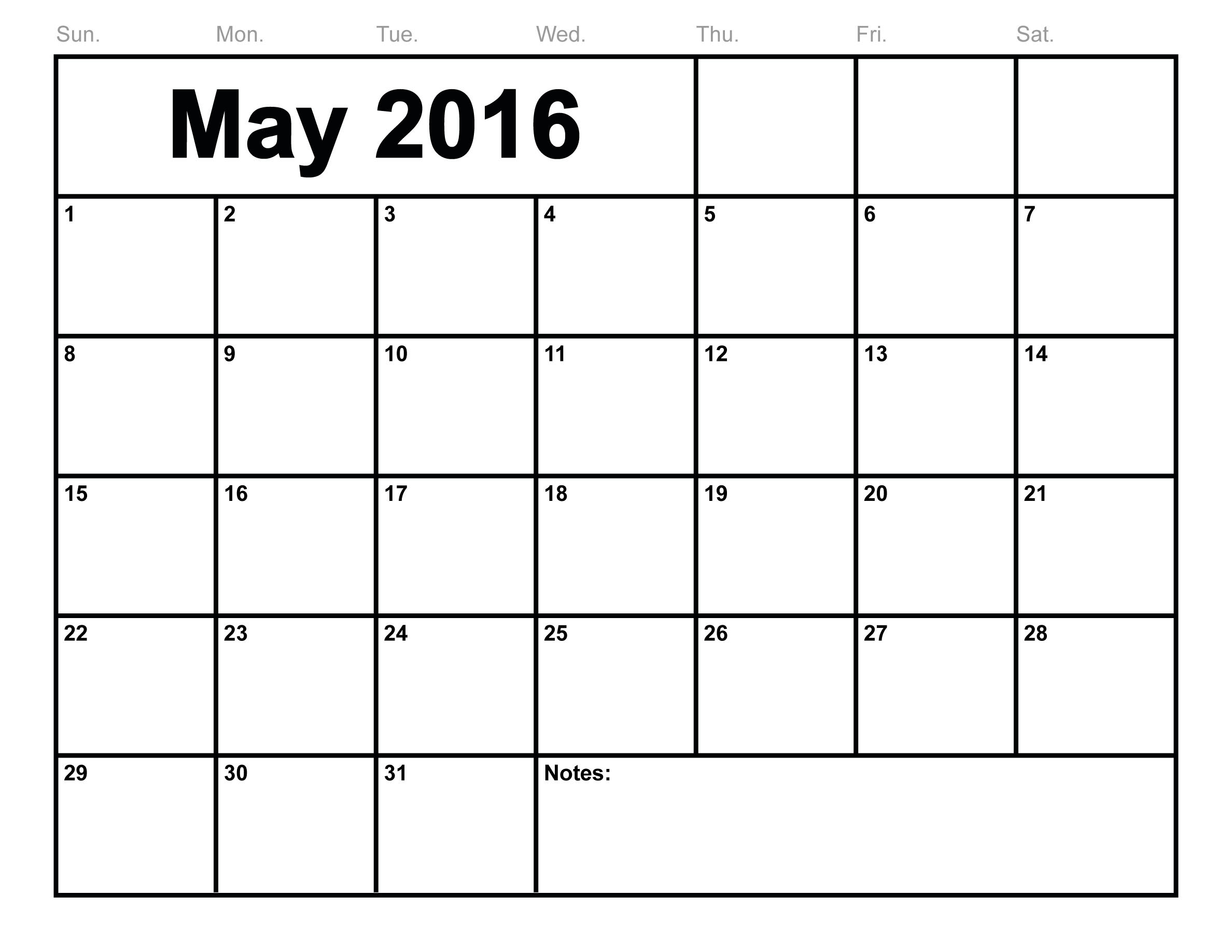 Printable Calendar For May