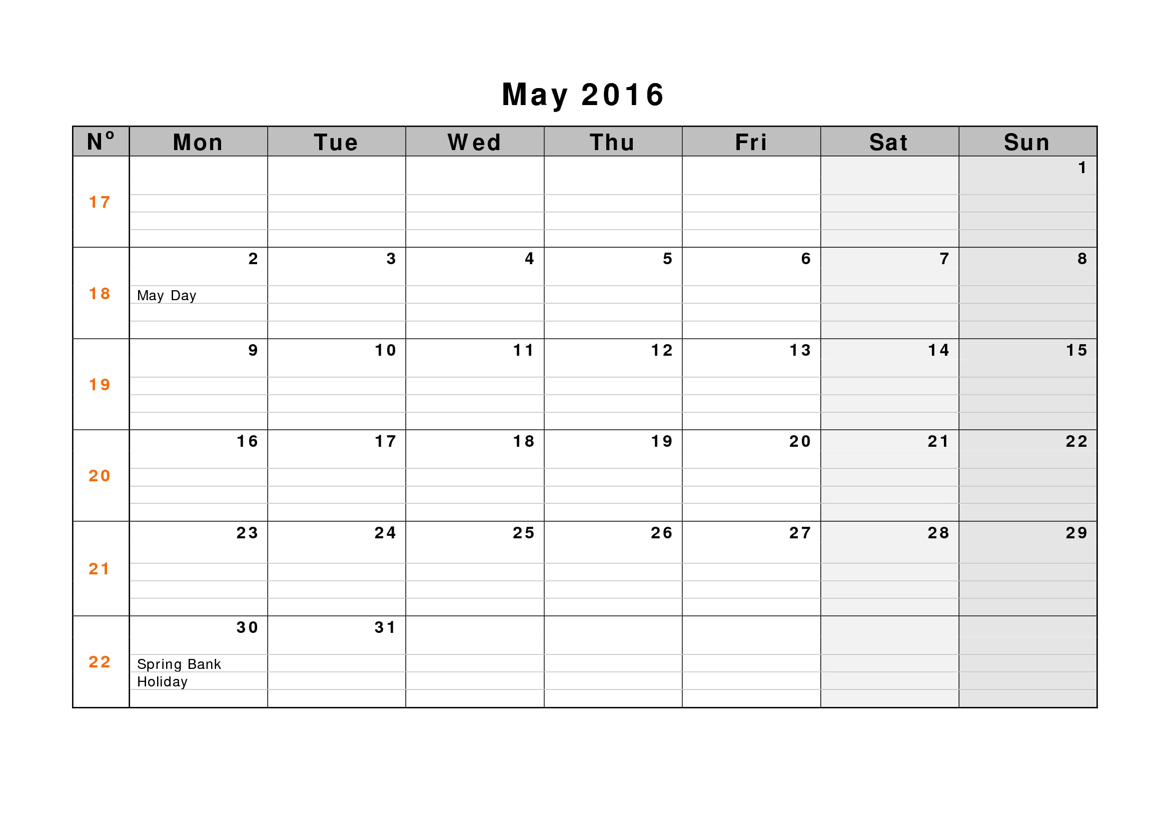 May Weekly Printable Calendar