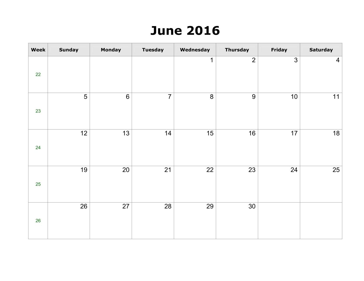 June 2016 Calendar Printable Portrait Printable Calendar Templates