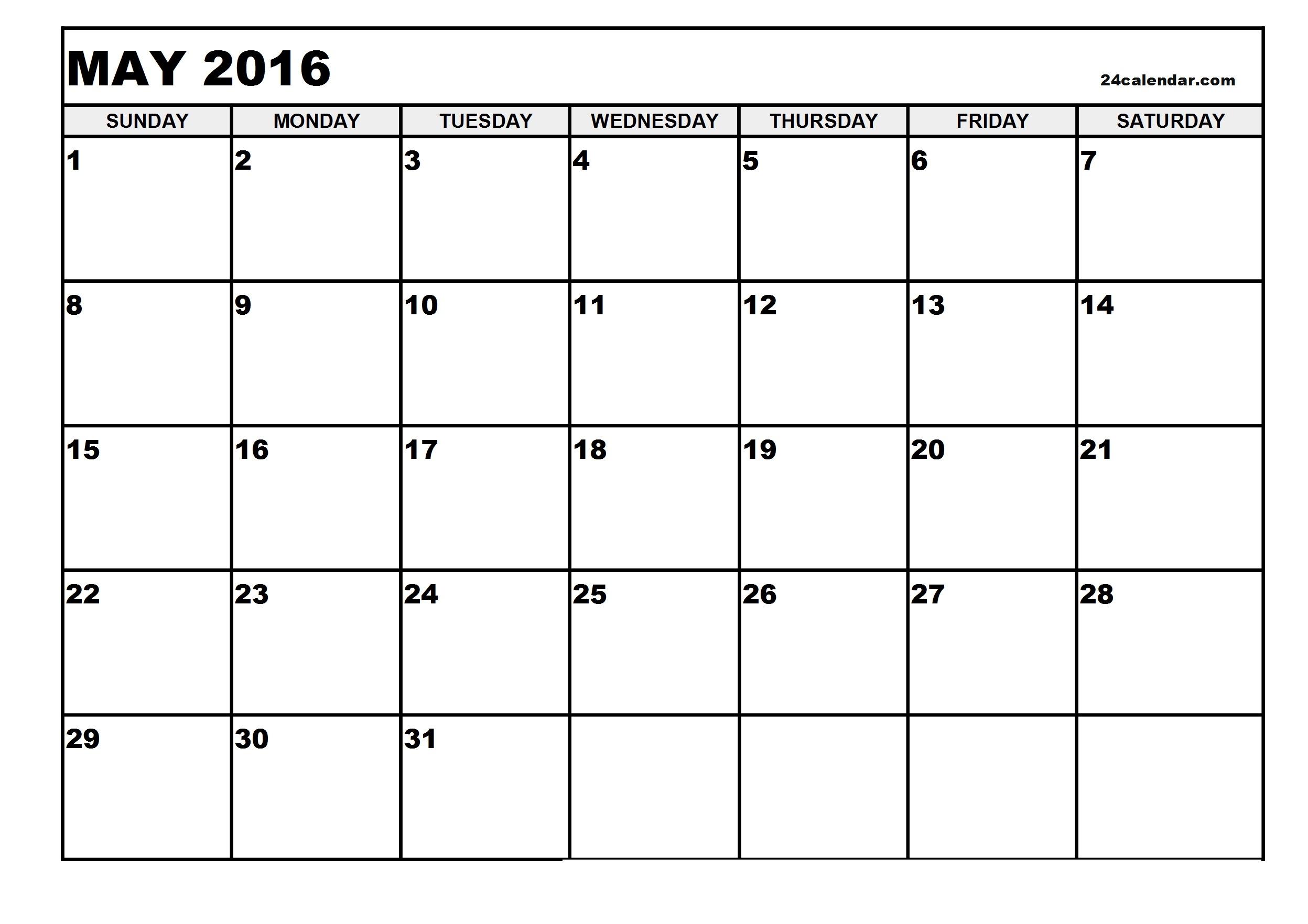 May Printable Calendar Landscape