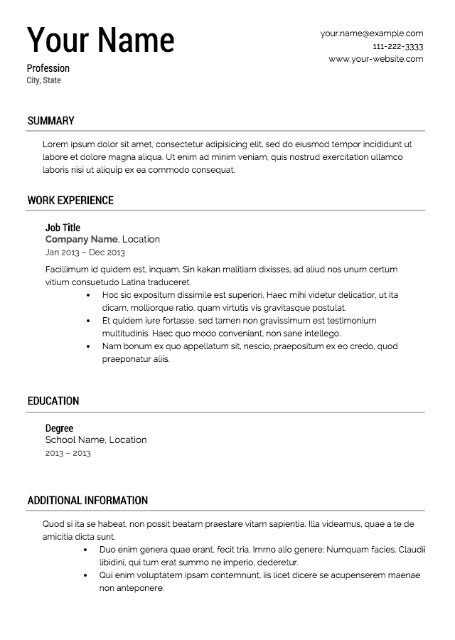 sample templates for resume - Examples Of Resume Templates