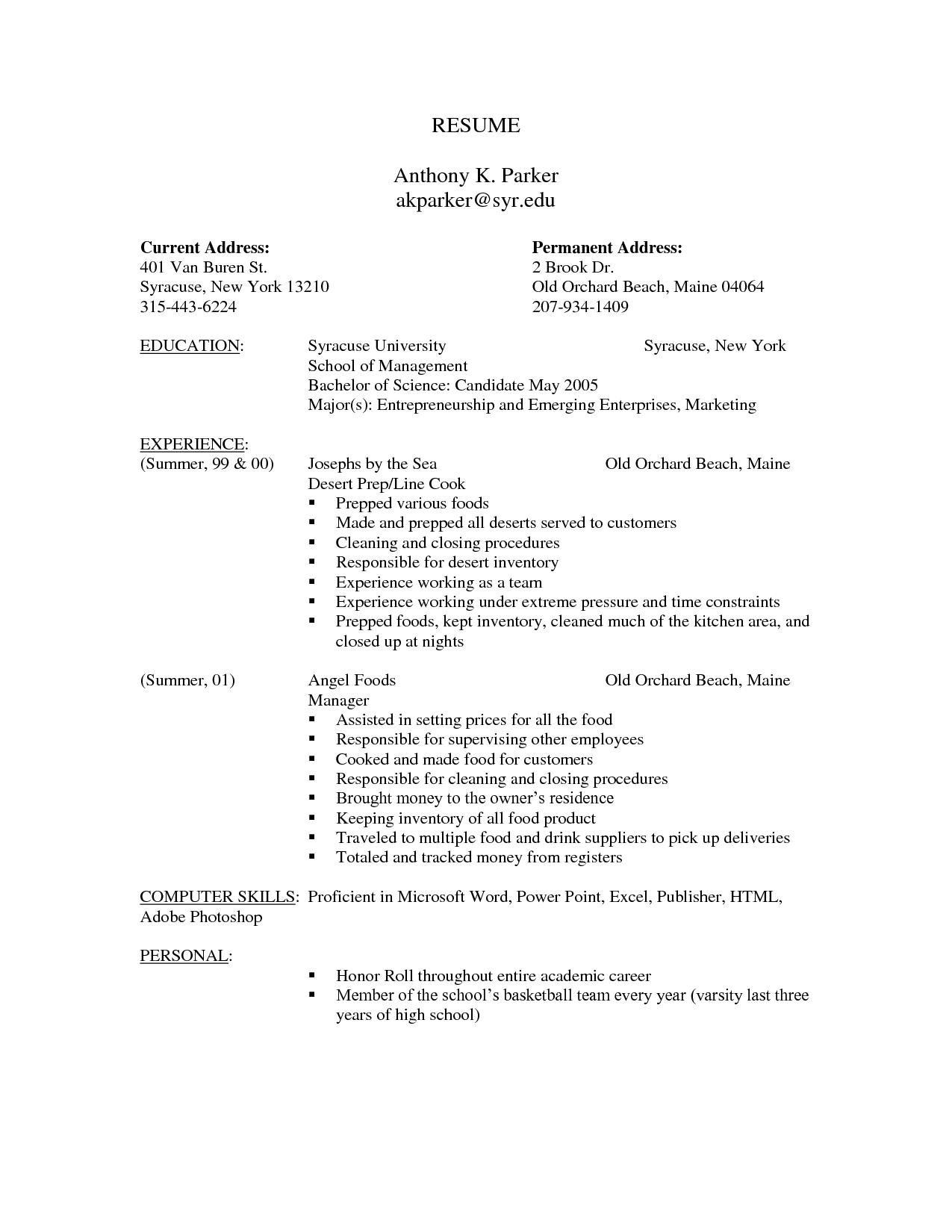 Sample Resume Form