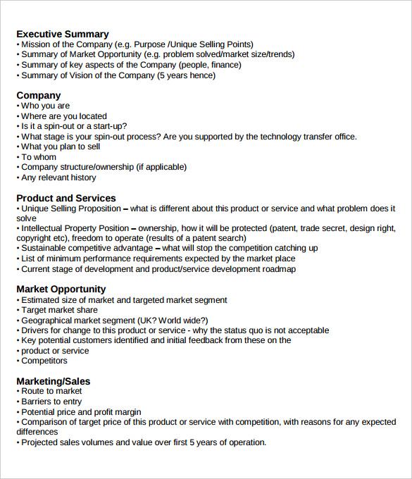 business plan executive summary template