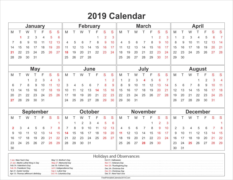 Free Printable Calendar 2018 Word