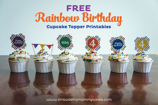 Free Rainbow Birthday Cupcake Topper Printables on www.strawberrymommycakes.com