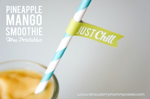 Pineapple Mango Smoothie with Free Printables: Summer Survival Giveaway on www.strawberrymommycakes.com
