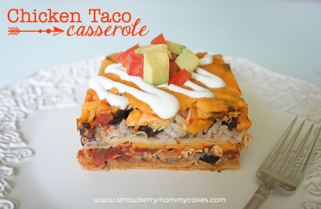 Chicken Taco Casserole by www.strawberrymommycakes.com #QuickFixCasseroles