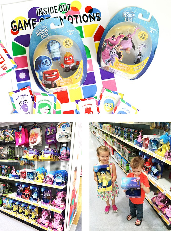 Kids holding Inside Out toys at store