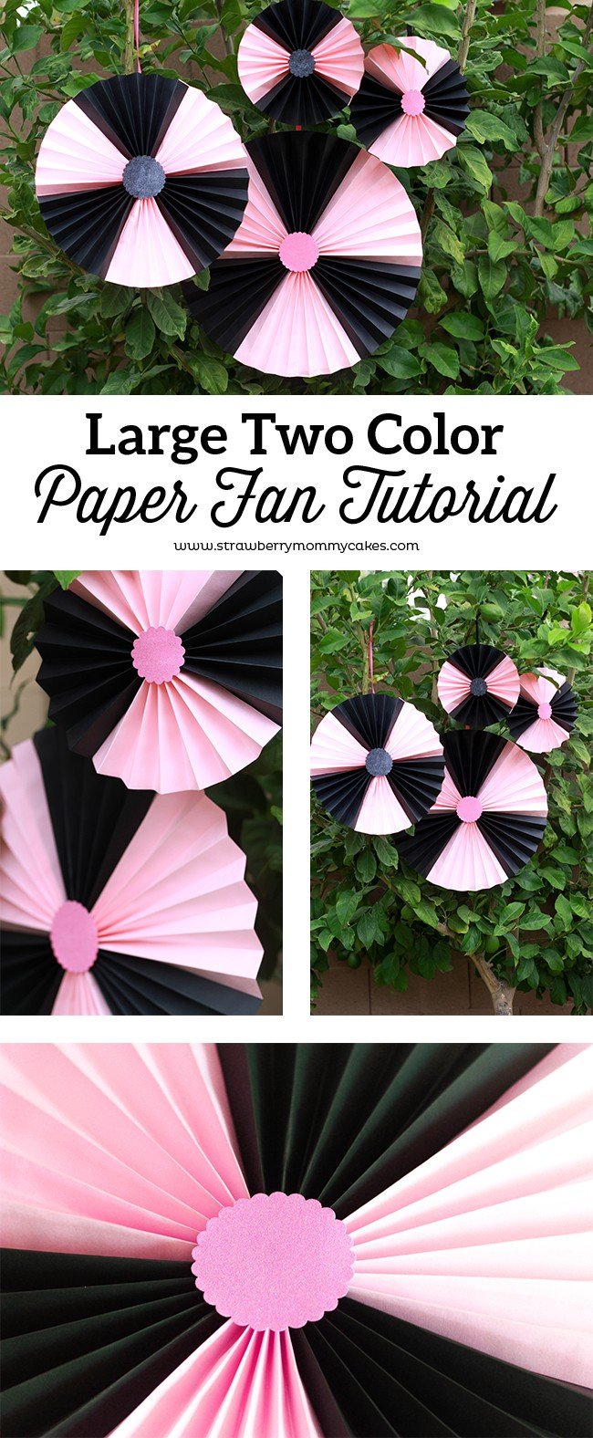 See this easy Large Two Color Paper Fan Tutorial for your summer outdoor get together!