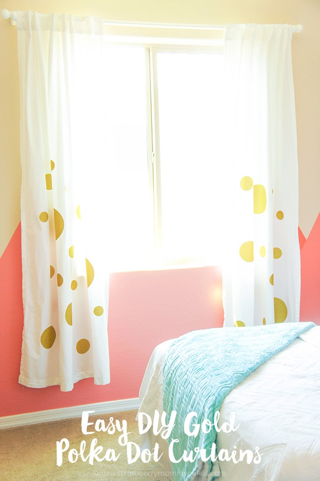 Easy DIY Gold Polka Dot Curtains + DOZENS OF OTHER VINYL PROJECT IDEAS WITH EXPRESSIONS  VINYL!
