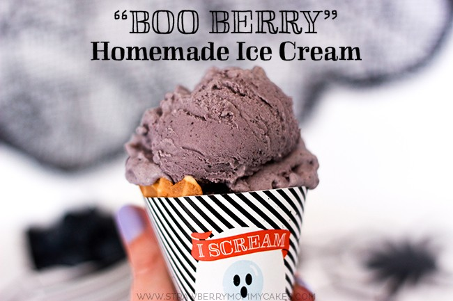 blueberry ice cream in black and white stripes cone