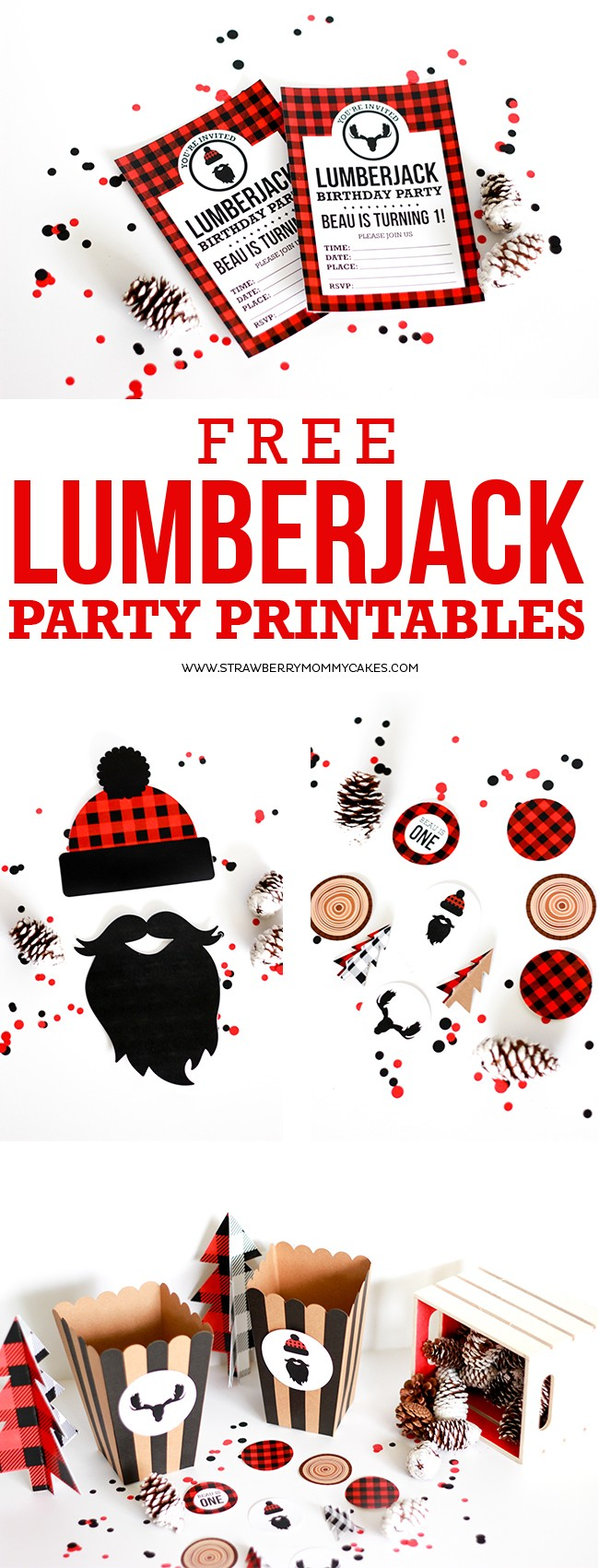 FREE Printable Birthday Invitations - PLUS Lumberjack Party Printables