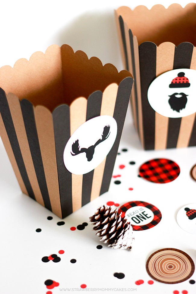 Popcorn boxes to go with free printable birthday invitations