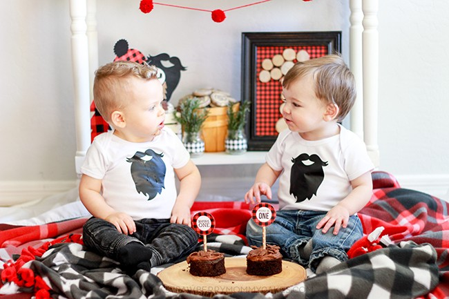Two boys sitting on red and black blankets with cupcakes on a slice of wood