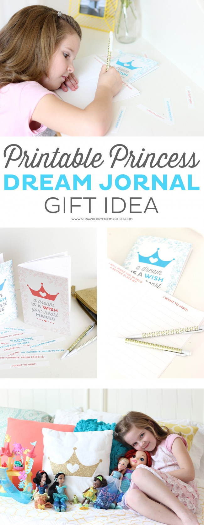 I gave my daughter this Printable Princess Dream Journal to go along with some new Disney Princess dolls and she LOVED it! She can write about her goals and dreams in this pretty notebook.