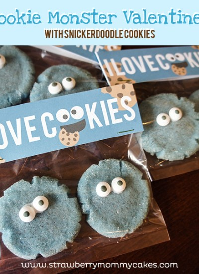 Cookie Monster Valentines with Snickerdoodle cookies