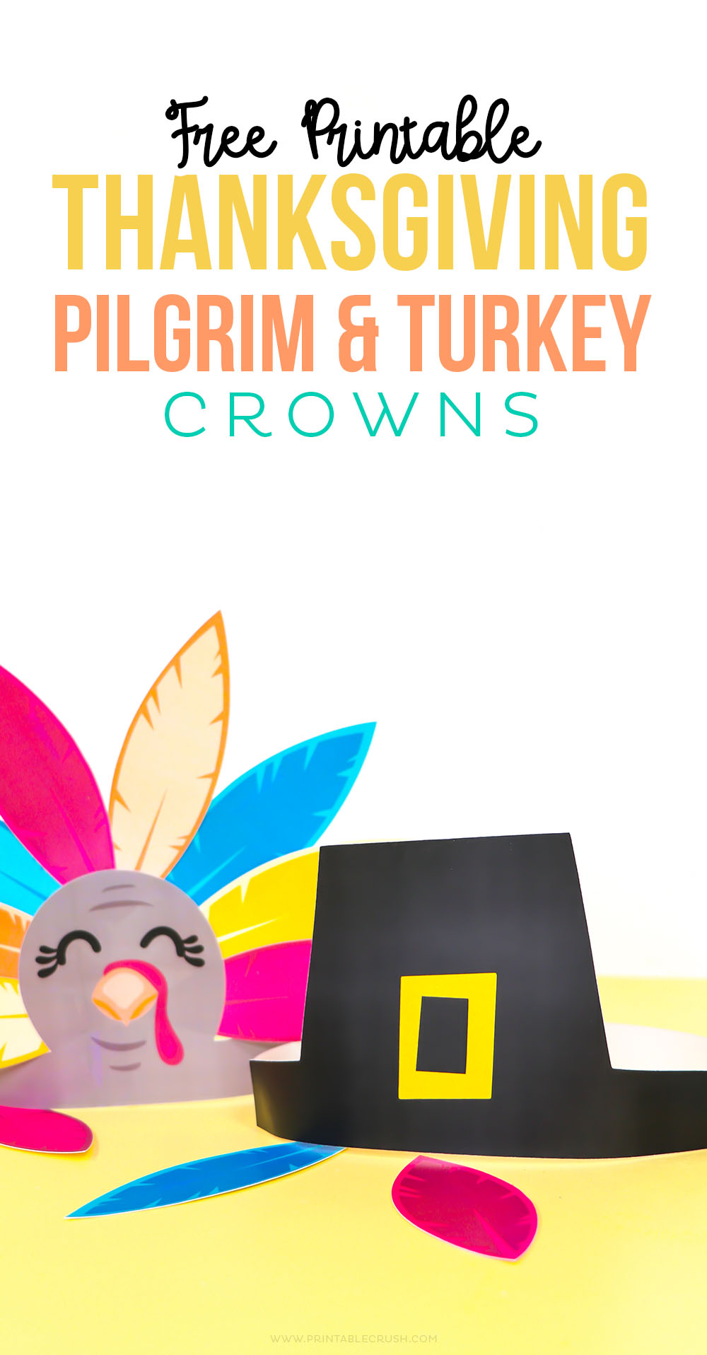 FREE Thanksgiving Pilgrim and Turkey Crown Printables