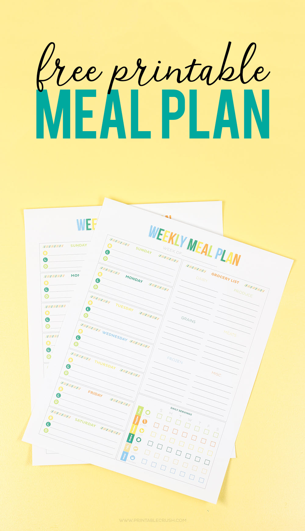 printable meal planner long image with yellow background