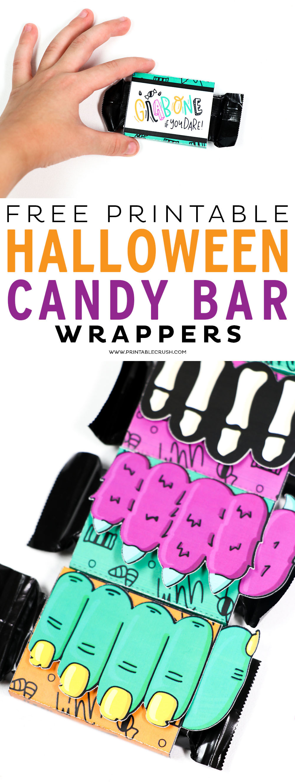 Make these Printable Halloween Candy Bar Wrappers for your next Halloween Party or give them out to trick or treaters! #cricutmade #printandcut #halloween #halloweenprintables #halloweenpartyfavors via @printablecrush