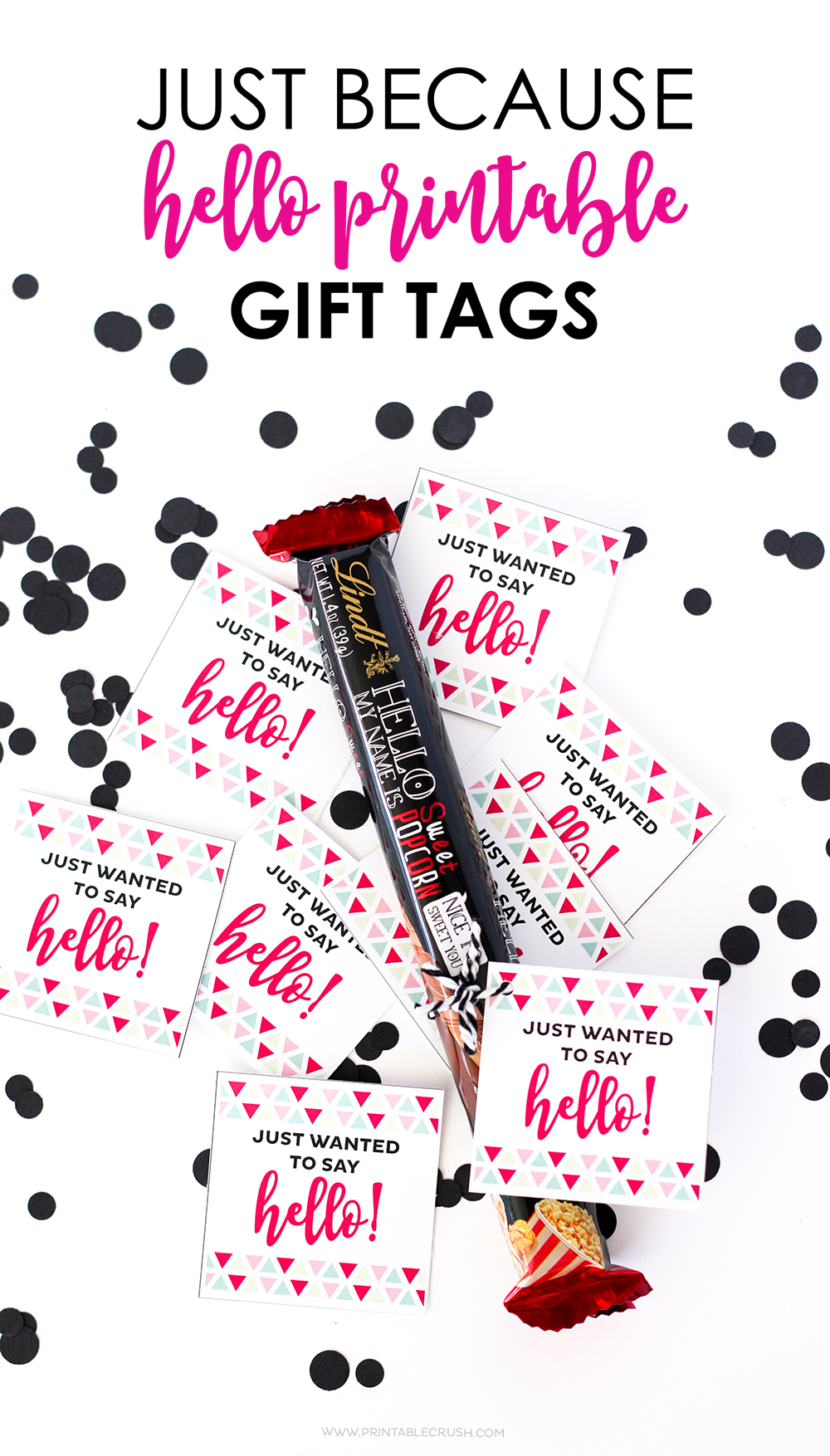 It's always a good time to make someone's day with these Hello Printable Gift Tags! Attach them to some candy bars for a simple and delicious gift.