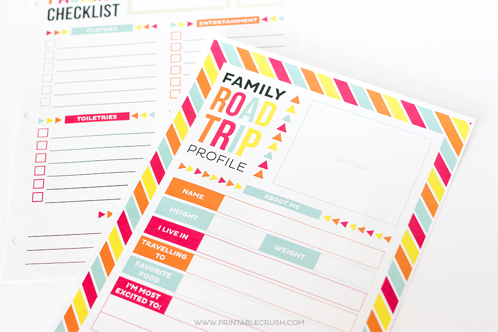 Close up of two road trip printables for how to make printables