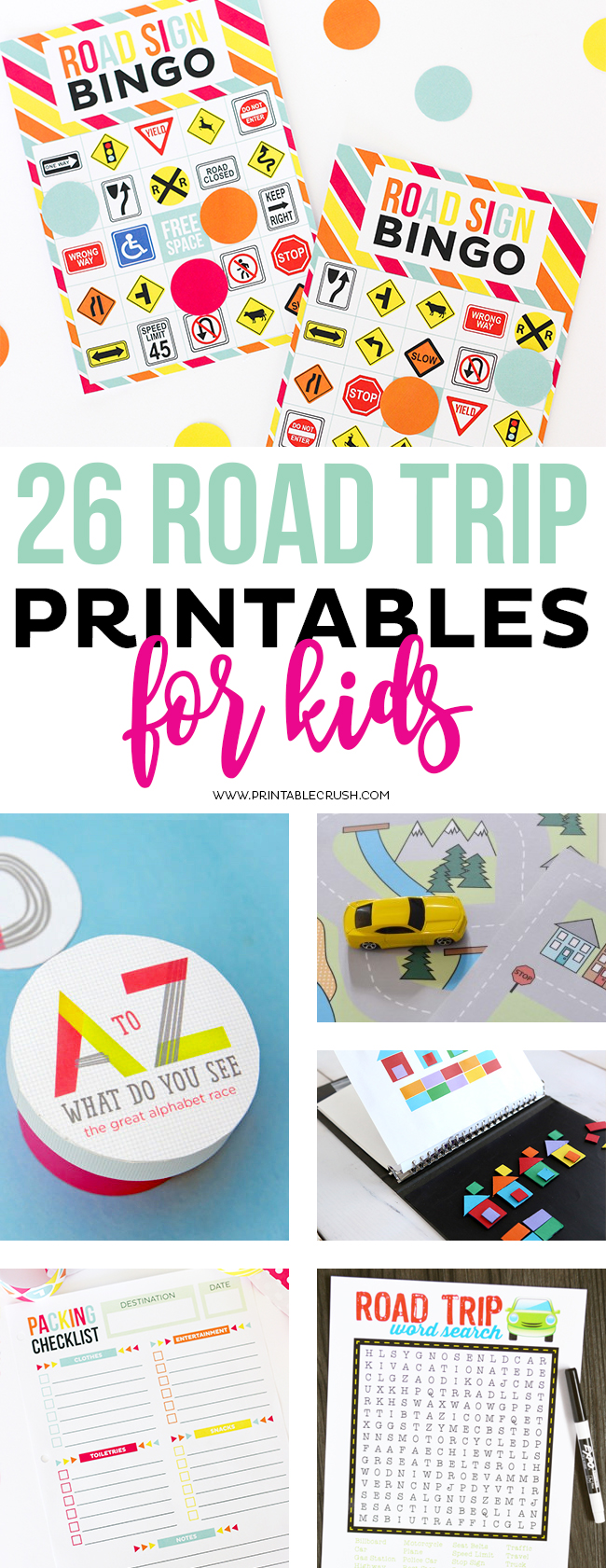 This list of 26 Road Trip Printables for Kids will keep your kiddos entertained for hours in the car!