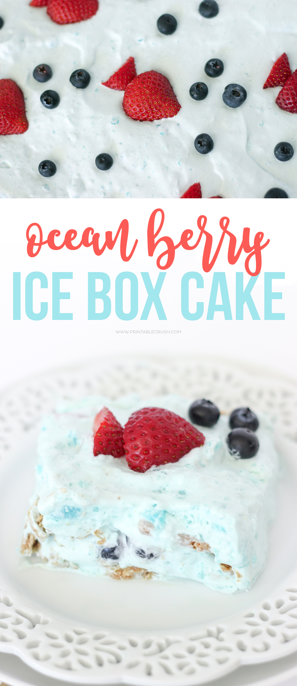 Serve this Ocean Berry Icebox Cake at your next ocean or beach themed party! It's really easy to make and anyone can decorate it!