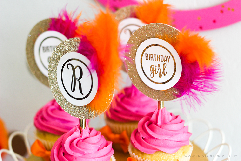 Download these FREE Monogram Birthday Printable Cupcake Toppers and decorate any way you like! Includes the whole alphabet!