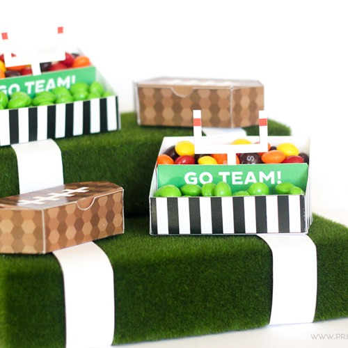 These FREE Printable Football Stadium Treat Holders will be PERFECT for your next Tailgating party!