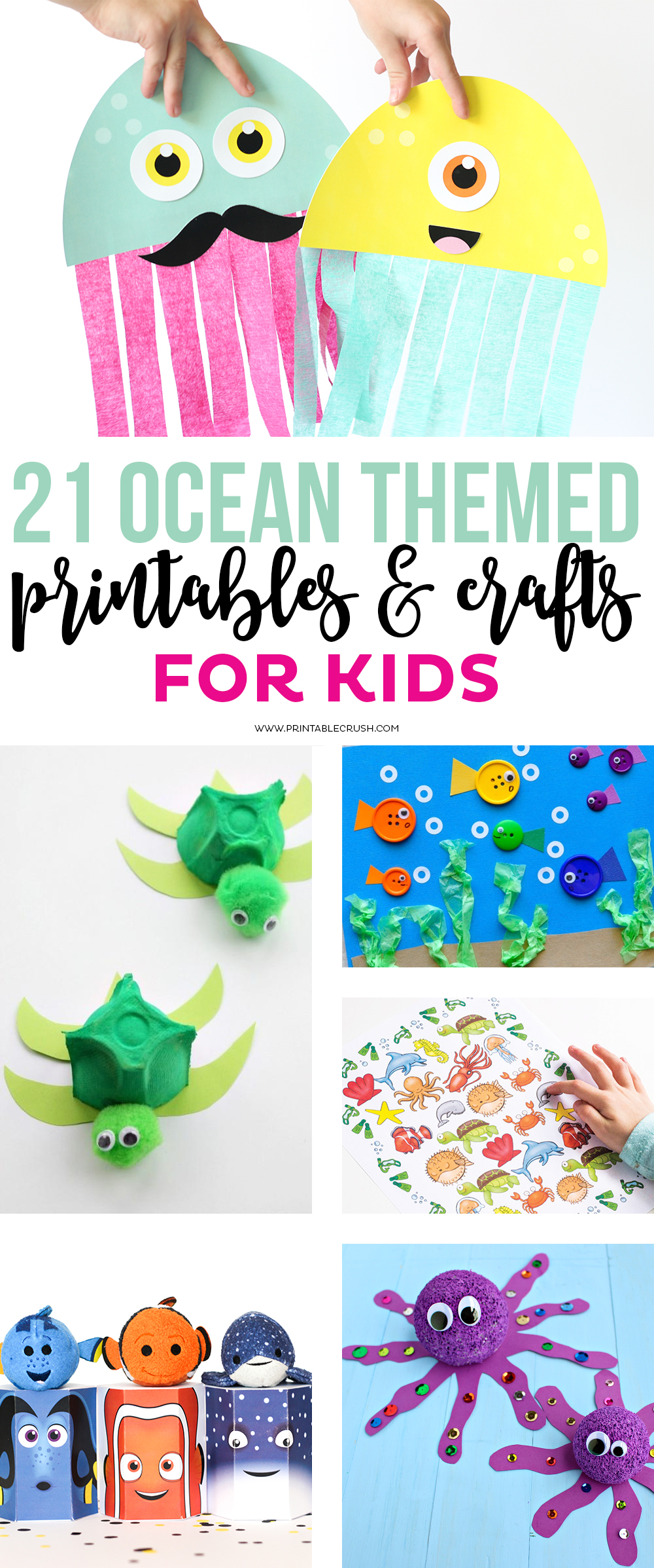 Check out these 21 Ocean Themed Printables and Crafts for Kids! These will be great for an ocean themed party!