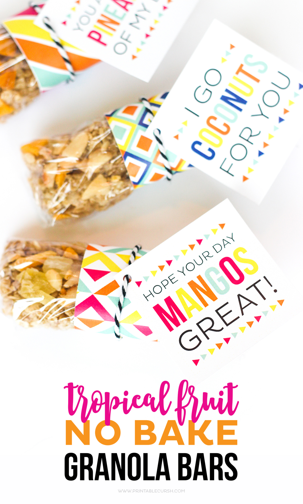 This Tropical Fruit No Bake Granola Bar recipe is great for breakfast or after school snacks! It's seriously the BEST granola bar ever! You can also download these cute lunch box printable gift tags to go with these!