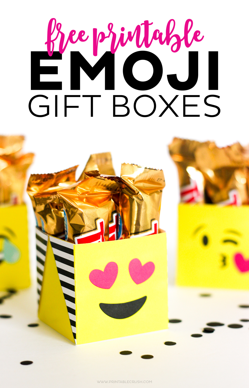 3 emoji gift boxes on white table with black confetti perfect for emoji gifts