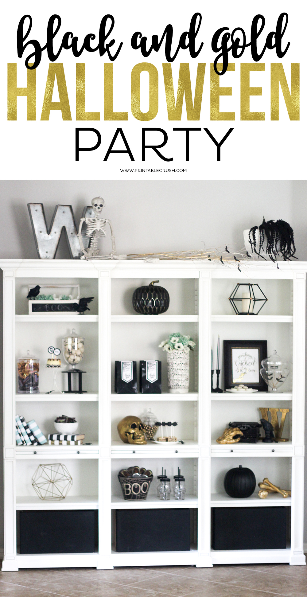 Black and Gold Halloween Party Ideas - Printable Crush