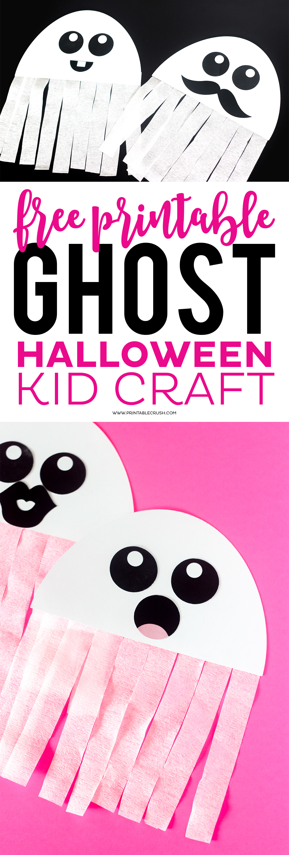 This FREE Printable Ghost Halloween Craft would be a great activity for your Halloween Party! Kids love creating their own ghosts!
