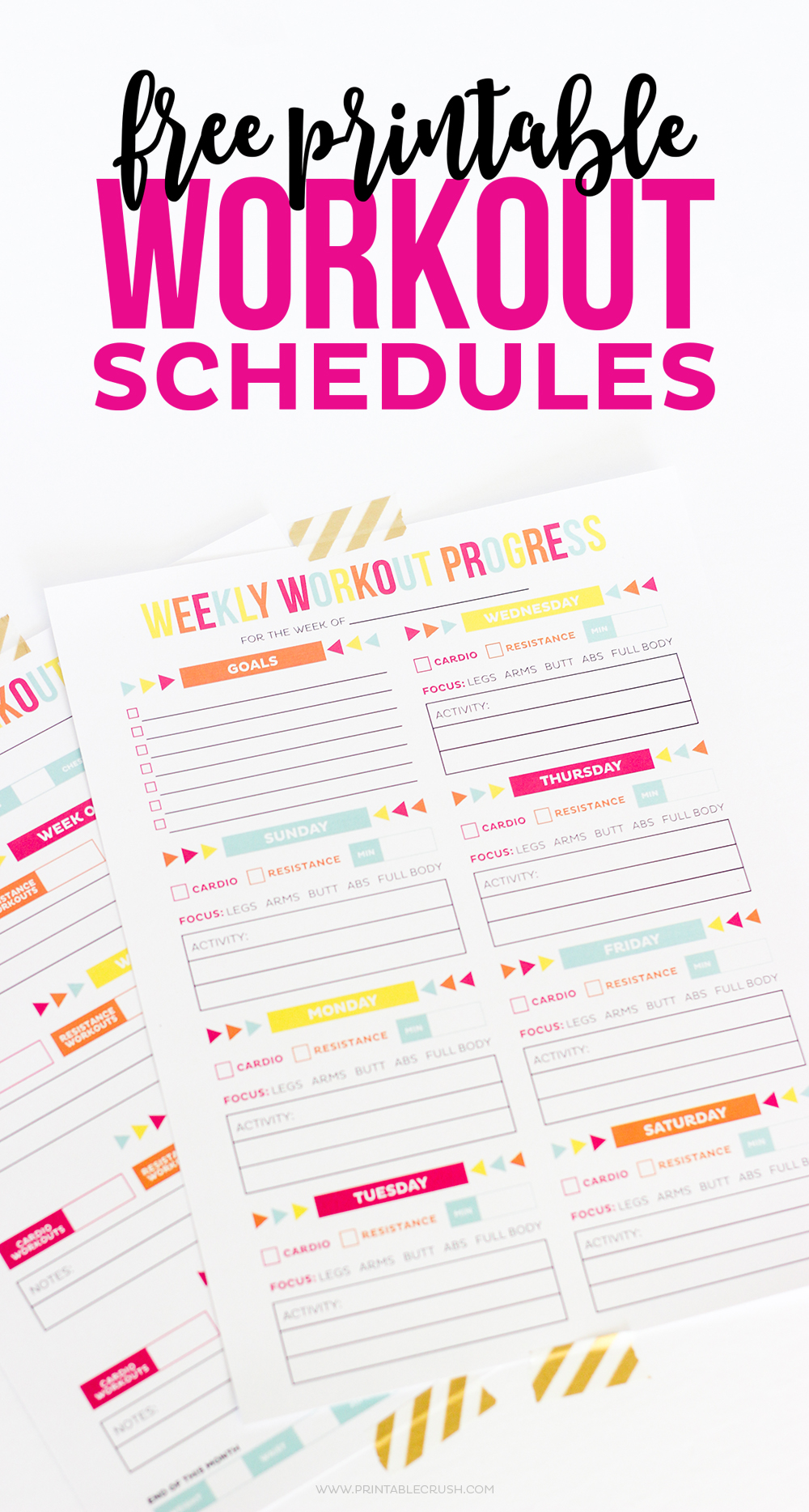 Workout calendar with goals section