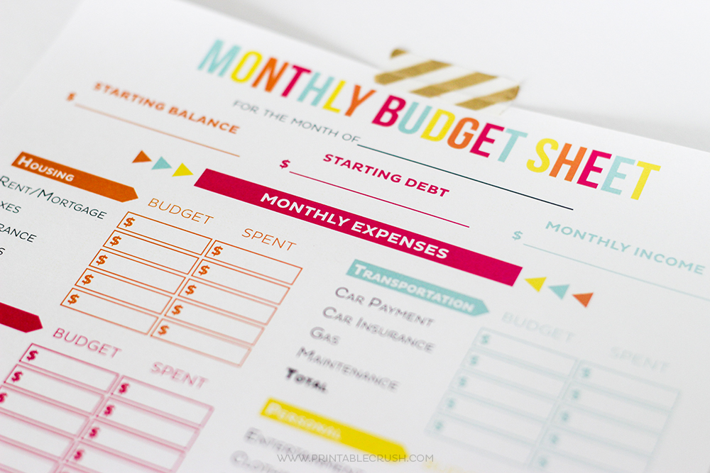 Close up of top of monthly budget sheet