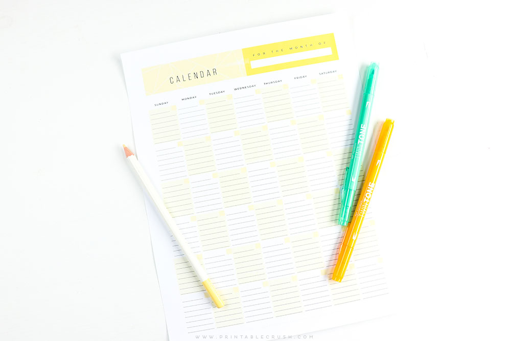 free printable monthly calendar printable crush