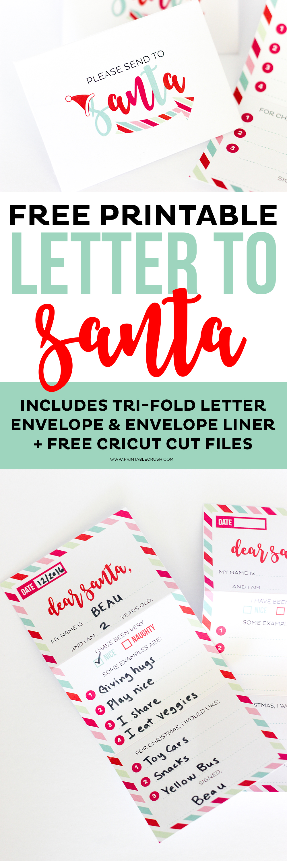 This Adorable FREE Santa Letter Printable Set Includes A Tri Fold Letter,  Envelope,
