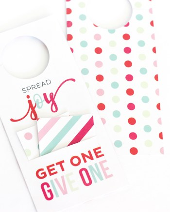This Spread Joy Gift Card Door Hanger is the gift that keeps on giving! Leave it on someone's door with two gift cards. One for them and one to give away!