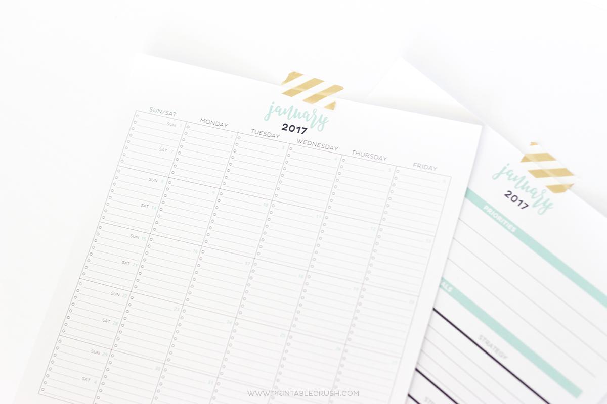 2017 Simple Printable Calendar and Goal Planner