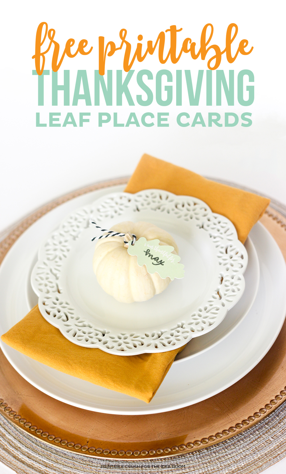 Download these pretty FREE Thanksgiving Place Card Printables to create a beautiful place setting for your guests!