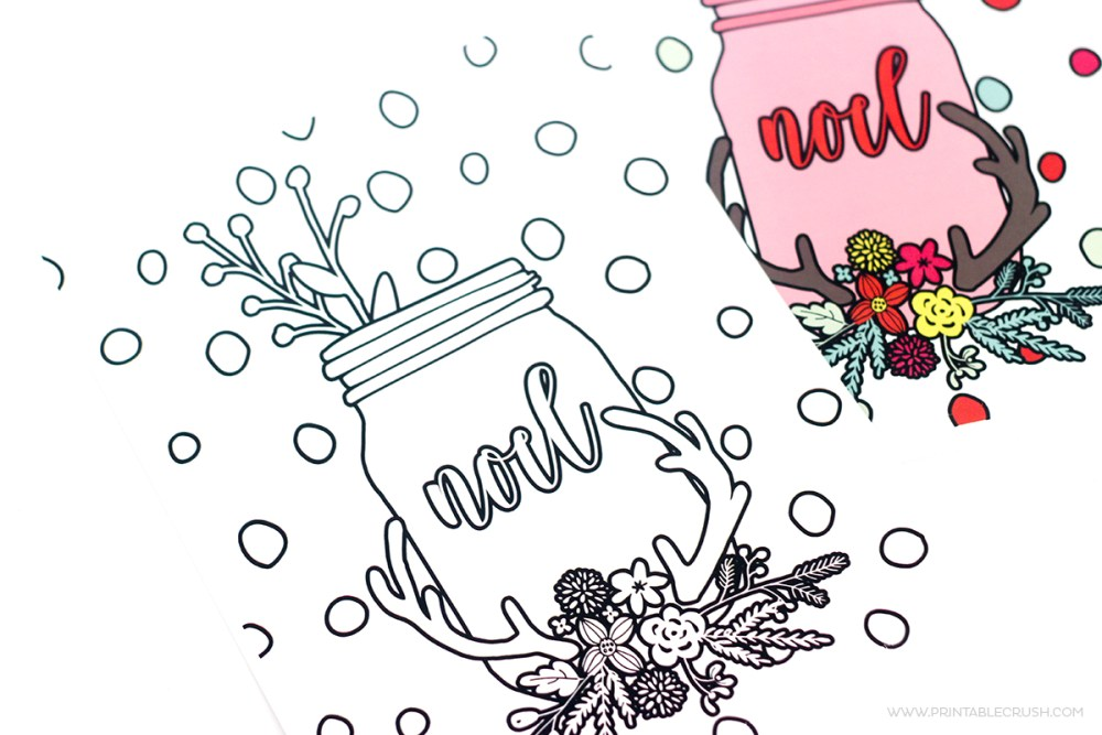 Christmas coloring pages plain and colored