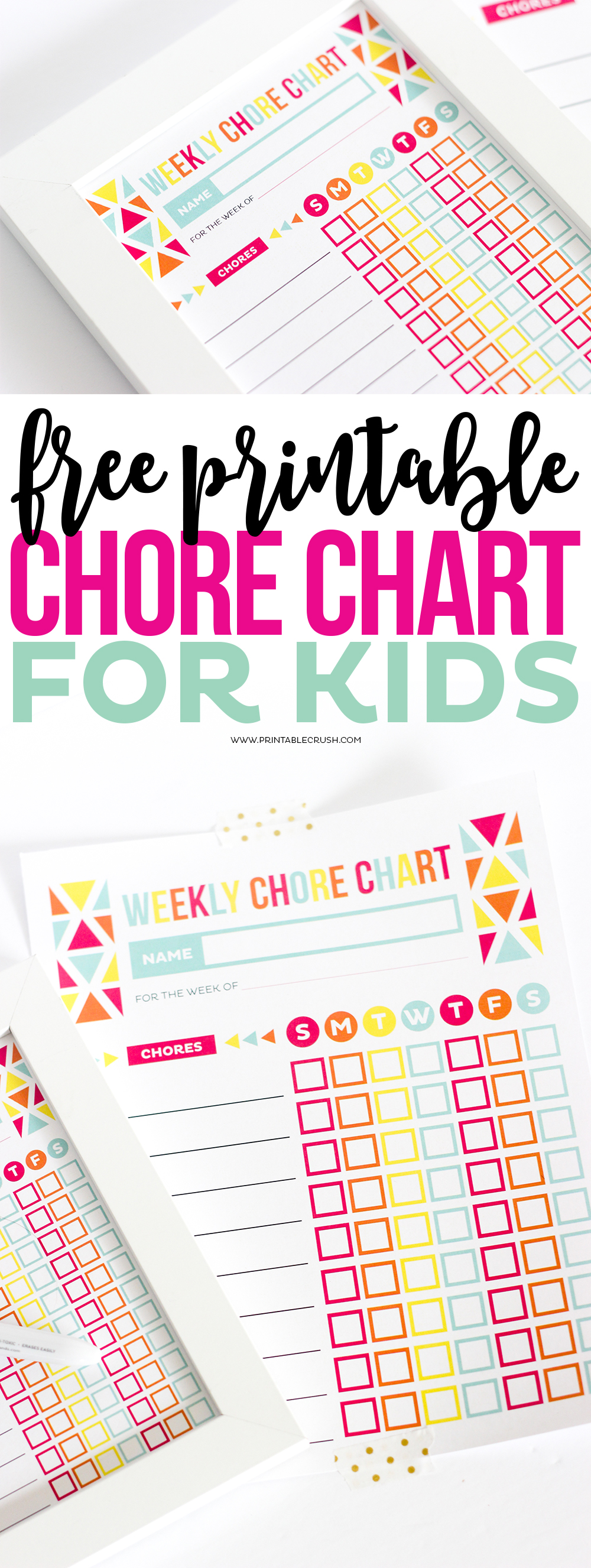 Several chore charts for kids in long pin collage